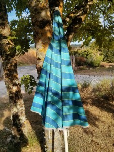 striped blue umbrella
