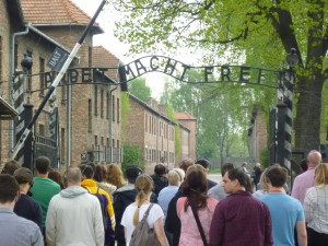 The entry gate to Auschwitz